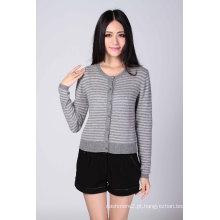 Moda 100% suéter de cashmere listrado (1500008061)
