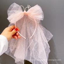 Yarn Crown Headband Long Veil Luxury Hair Accessories Korean Handmade Princess Birthday Hairband Sequins Bow Knot Sweet