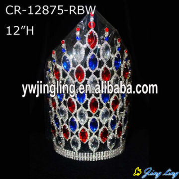 """12"""" Colored Chunky Rhinestone Crowns For Party"""