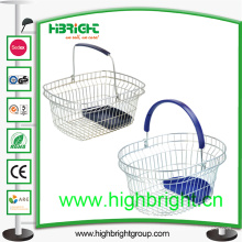 Einzelner Handgriff-Draht-Einkaufskorb mit Plastikbehälter