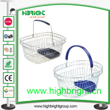 Single Handle Wire Shopping Basket with Plastic Tray