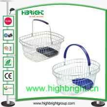 Único identificador de fio cesta de compras com bandeja plástica