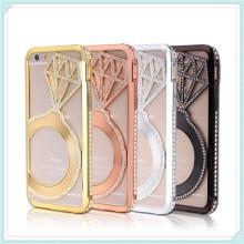 Caja del teléfono celular de Bling Diamond and Metal para iPhone6