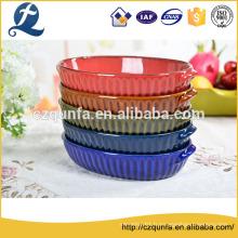Grande casserole ovale en céramique gaufrée de vaisselle de cuisson de style classique