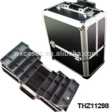 cosmétique professionnelle aluminium roulant cas avec 8 plateaux à l'intérieur de Foshan