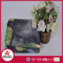 Warm Soft Horse Pattern Animal Printed Mirco Mink Blanket Back Sherpa Fleece Blanket