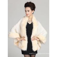 Woman Fashion Acrylic Knitted Faux Fur Winter Shawl (YKY4465)