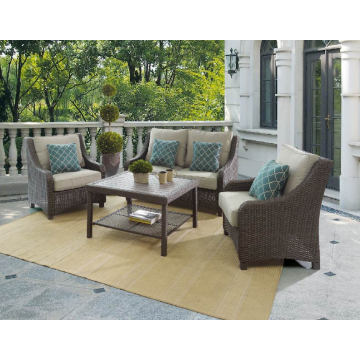Jardín de mimbre del patio Lounge al aire libre sofá de la rota