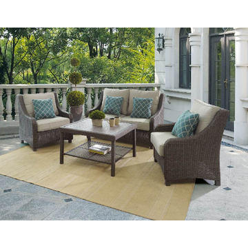 Сад патио плетеная ротанг открытый лаундж диван