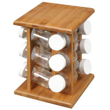 Bamboo Spice Storage Rack for 12 Glass Jars
