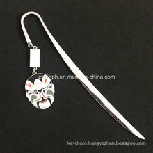 Custom High Quality Shiny Chrome Plating Book Mark with Customized Soft Enamel Pendant for Promotion