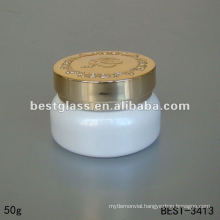 50g white color cream cosmetic glass jar with golden pump and clear plastic cap