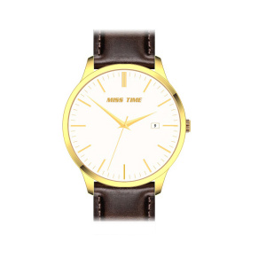 Gold plated leather quartz mens watch