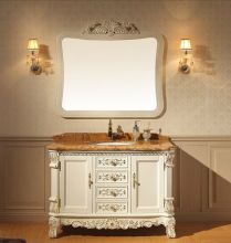 Antique white color hotel bathroom furniture hotel 5 star with shaker style Handmade