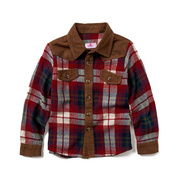 Boy's long sleeve trim style flannel shirt
