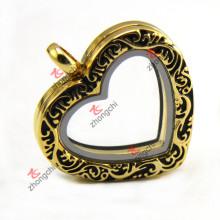 Moda imitação de ouro flutuante Locket, Heart Locket Colar vivo Atacado (ZC-L149)