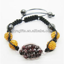 10MM Yellow Crystal balls woven bracelet with Garnet chip lucky tree gemstone