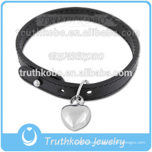 Small Custom Cremation Jewelry On Bracelet For Ash Stainless Steel Heart Charm Black Leather Jewelry