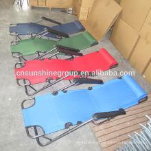 Ajustável ao ar livre Folding Relax cadeira com lata de aço tubo dobra e aberto