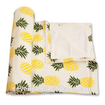 Venta caliente 100% algodón impresión piña oversize toalla de playa de Graden BT-010
