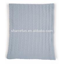 Manta de cachemira tejida con cable 100% puro