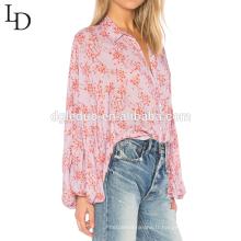 Nouvelle arrivée plus la taille blouse à manches longues impression chemise