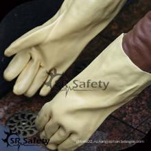SRSAFETY хлопок-блокировка с покрытием из желтого ПВХ, грубая отделка на ладони / желтых ПВХ-перчатках