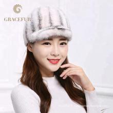 Fabricant en gros hiver véritable vison de fourrure chapeau de vison