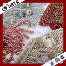Hermosa cortina de diseño borla envuelta por hilos para textiles para el hogar