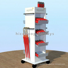 Supermarket New Products Promoting Wooden Flooring 4-Way Rolling Umbrella Display Rack Stand