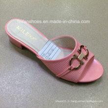 Nouveau style de bonne qualité mode femmes pantoufles pantoufles PU (JH160523-4)