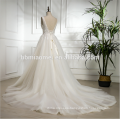 2018 factory price wholesale Lace Appliques deep v neck sleeveless suzhou wedding dress