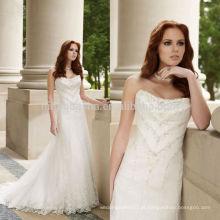 New Arrival 2014 Cetim Strapless Sweetheart Delicado Hand-Beading Corpete A-Line Vestido de casamento Vestido feito sob medida NB0883