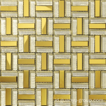 Warna Emas Aluminium Mix Glass Mosaic