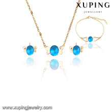 63843 Xuping Venda Quente strass conjuntos de jóias nupcial indiano jodha akbar com banhado a ouro 18k
