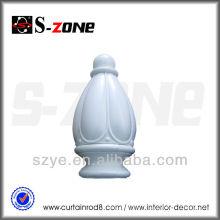 28 mm blanc décoratif PS soufflage moulage en plastique rideau finials