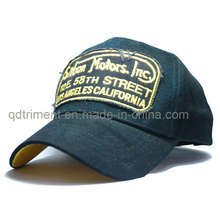 Raw Edge Applique Genuine Leather Stap Embroidery Sports Cap (TMB6350)