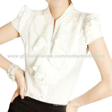 Women's business short T-shirts, made of 100% cotton, with V-neck collar