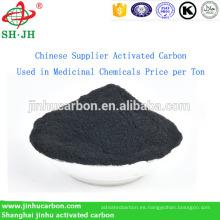 Carbón activado por el proveedor chino utilizado en el precio de los productos químicos medicinales por tonelada