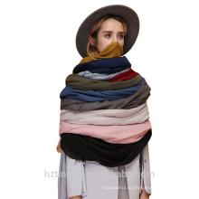 Мода простой шали женщин простой большой размер мягкий длинная много цвет хлопок кистями хиджаб шарф