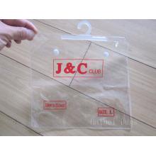PVC roupa e roupa interior saco de plástico, saco de embalagem de PVC cosméticos com um gancho / gancho e botão (hbpv-66) (hbpv-66)