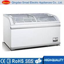 500 / 700L de gran capacidad de venta de supermercados venta tapa abierta tipo profundo pantalla congelador profundo arcón