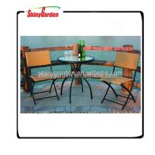 Muebles de jardín de ratán de imitación, muebles de playa de ratán, Conjunto de silla de mimbre de marco de acero