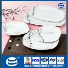 Ensemble de vaisselle en porcelaine carrée et rectangulaire 20PC-EX8500