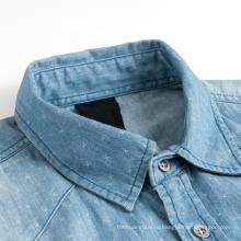 Моющиеся мужские джинсовые рубашки добби с коротким рукавом