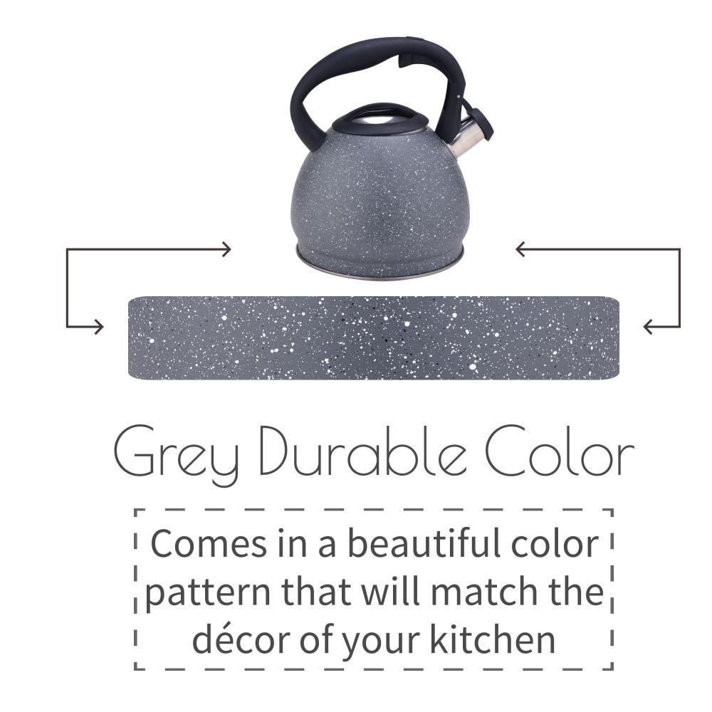 Grey Stainless Steel Stovetop Water Kettle