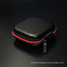 Hot Sale Black Fiber Zipper Hard Headphones Earphone case Storage Carrying Pouch bag Square