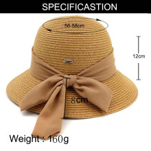 Grand foulard noeud papillon chapeau de paille d'été