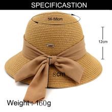 Lenços grandes bowtie chapéu de palha de verão