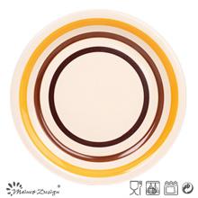 Orange und Brown Circles Steingut Teller